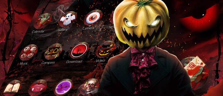 Red Scary Pumpkin Halloween