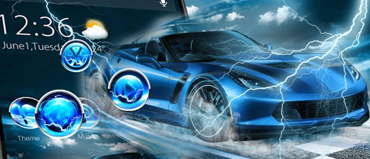 Blue Lightning Cool Car